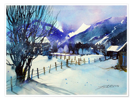Plakat Winter landscape near Zell am See