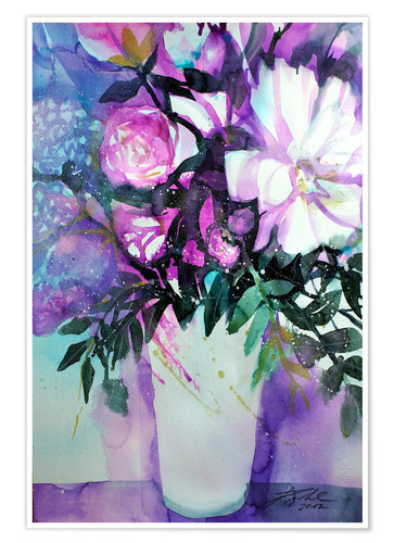 Plakat White peonies with lilac