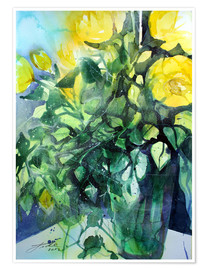 Plakat Yellow roses with ivy in vase