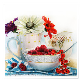 Plakat Flowers and berries watercolor painting