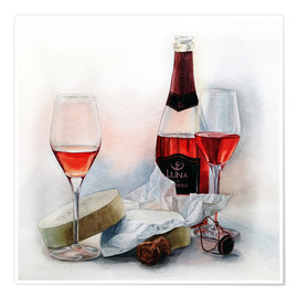 Plakat Wine and cheese watercolor painting