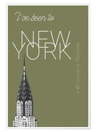 Plakat Popart New York Chrysler Building I have been to Color: calliste green