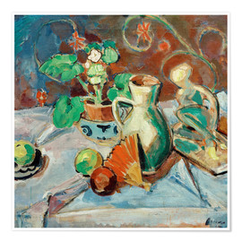 Plakat Still life with a white pitcher, plastic, fans and oranges