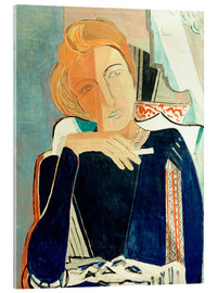 Obraz na szkle akrylowym  Inge II, in dark blue with cigarette - Oskar Moll
