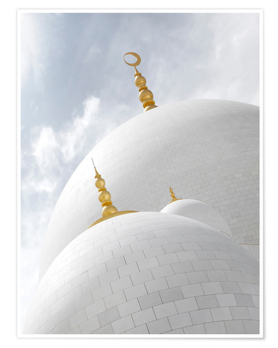 Plakat white cupolas of sheikh zayed mosque