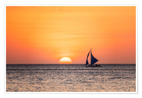 Plakat Sailboat in the sunset