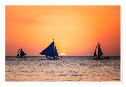 Plakat Sailboats in the sunset