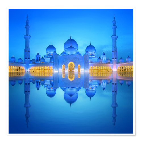 Plakat Sheikh Zayed Grand Mosque in blue