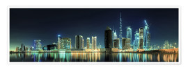 Plakat Panorama of the business houses of Dubai