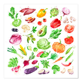 Plakat Fruits and vegetables watercolor