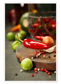 Plakat Chilli pepper and cooking ingredients