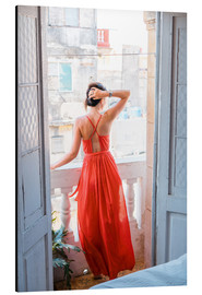 Obraz na aluminium  Young attractive woman in red dress