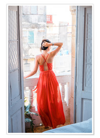 Plakat  Young attractive woman in red dress
