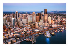 Plakat Aerial view of Seattle skyline, USA