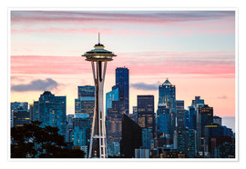 Plakat Space Needle and Seattle skyline, USA