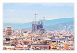 Plakat  Barcelona with the Cathedral of Gaudí