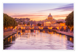 Plakat Skyline of Rome in a magenta dawn