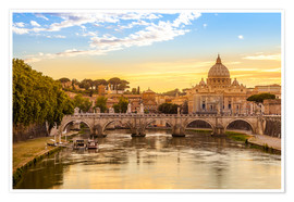Plakat Saint Peter Basilica with Sant'Angelo Bridge