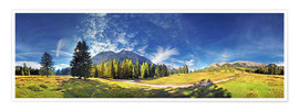 Plakat 360 ° mountain panorama in the Wettersteingebirge south face with Mieminger chain