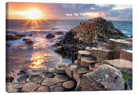 Obraz na płótnie  Sunset at Giant s Causeway