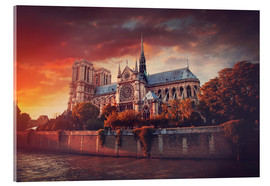 Obraz na szkle akrylowym  Sunset at Notre Dame in Paris
