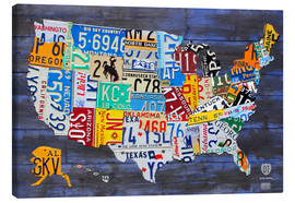 Obraz na płótnie  License plate map of the USA - Design Turnpike