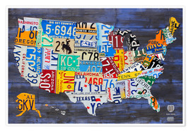 Plakat  License plate map of the USA - Design Turnpike