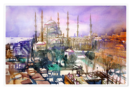 Plakat Istanbul, view to the blue mosque