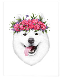 Plakat Samoyed with flower wreath