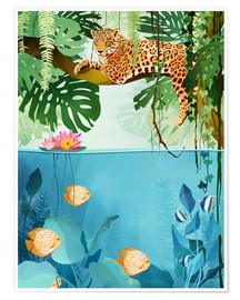 Plakat  Leopard in the trees - Goed Blauw