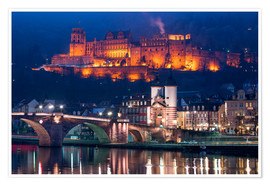 Plakat Castle and Old Bridge at night, Heidelberg, Baden-Wurttemberg, Germany