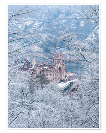 Plakat Castle in the snow, Heidelberg, Baden-Wurttemberg, Germany