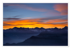 Plakat Colorful sky at sunset over the Alps