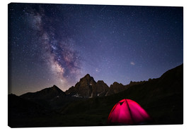 Obraz na płótnie  Glowing camping tent under starry sky on the Alps - Fabio Lamanna