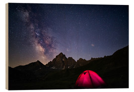 Obraz na drewnie  Glowing camping tent under starry sky on the Alps - Fabio Lamanna