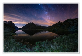 Plakat The Milky Way Galaxy reflected on alpine lake