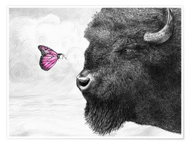 Plakat Bison And Butterfly