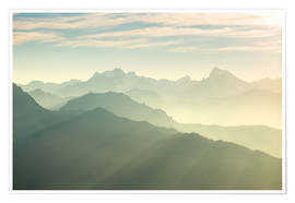 Plakat Sunlight behind mountain peaks silhouette, the Alps