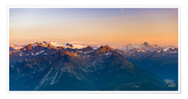 Plakat Sunset over rocky mountain peaks, ridges and valleys, the Alps