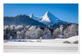 Plakat Snowy mountains in Upper Bavaria