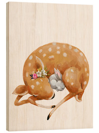 Obraz na drewnie  Fawn and baby bunny - Kidz Collection
