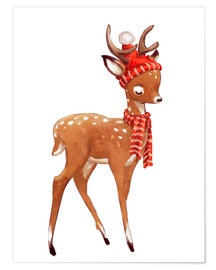 Plakat Winter deer with scarf and hat