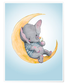 Plakat Elephant in the moon