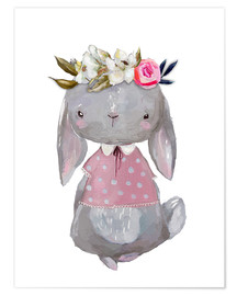 Plakat Summer bunny with flowers in her hair