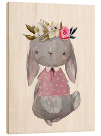 Obraz na drewnie  Summer bunny with flowers in her hair - Kidz Collection