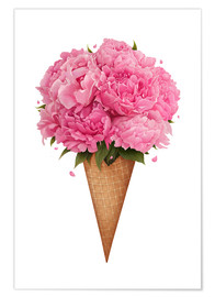 Plakat Ice cream with peonies