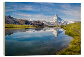 Obraz na drewnie  Matterhorn and Stellisee in the Swiss Alps, canton of Valais, Switzerland - Jan Christopher Becke