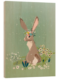Obraz na drewnie  Rabbit with wildflowers - Kidz Collection