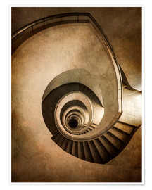 Plakat Spiral staircase in brown colors