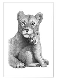Plakat Lioness with her boy